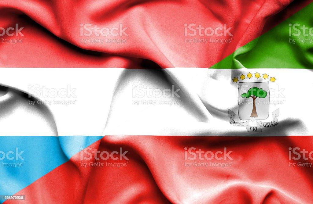 Waving flag of Equatorial Giuinea and Luxembourg waving flag of equatorial giuinea and luxembourg - immagini vettoriali stock e altre immagini di accordo d'intesa royalty-free