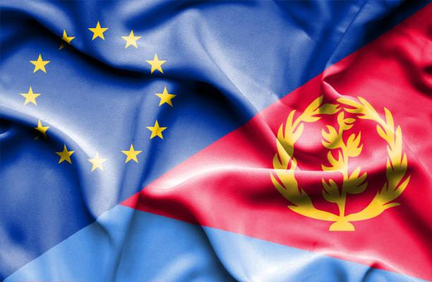 Waving flag of Eritrea and EU vector art illustration