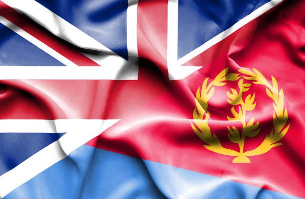 Waving flag of Eritrea and Great Britain vector art illustration