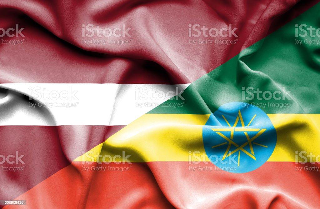 Waving flag of Ethiopia and Latvia waving flag of ethiopia and latvia - immagini vettoriali stock e altre immagini di accordo d'intesa royalty-free