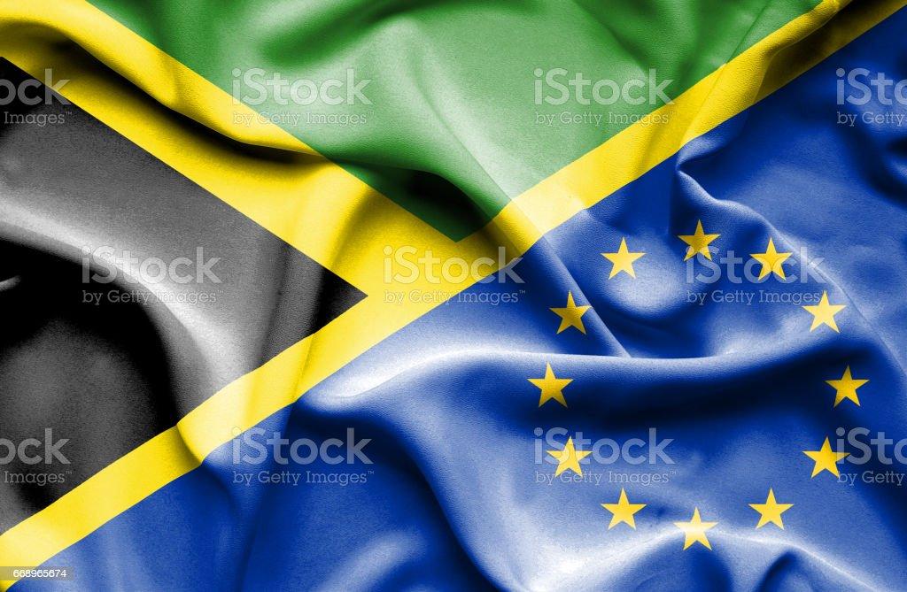Waving flag of European Union and Jamaica waving flag of european union and jamaica - immagini vettoriali stock e altre immagini di accordo d'intesa royalty-free