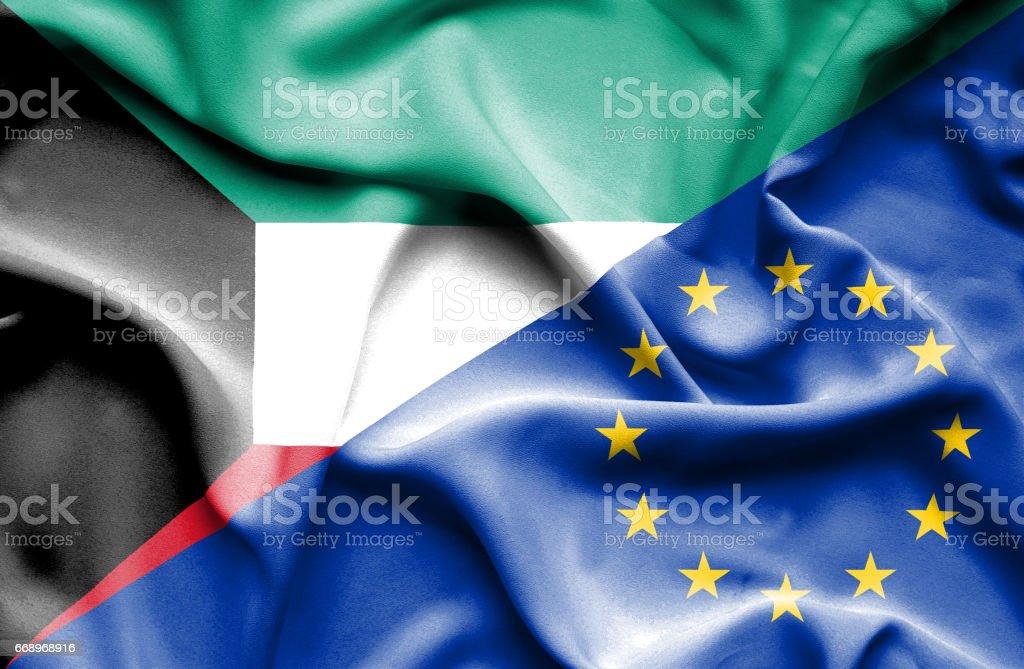 Waving flag of European Union and Kuwait waving flag of european union and kuwait - immagini vettoriali stock e altre immagini di accordo d'intesa royalty-free