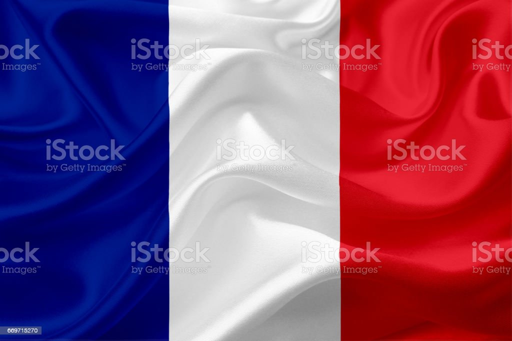 Bandera de Francia con la textura de la tela - ilustración de arte vectorial