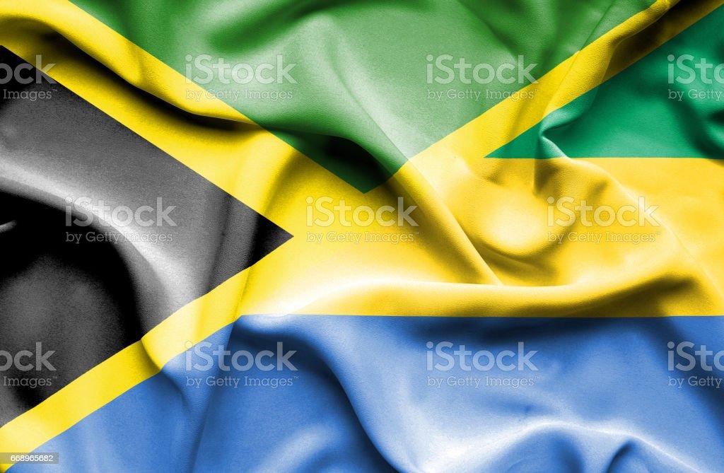 Waving flag of Gabon and Jamaica waving flag of gabon and jamaica - immagini vettoriali stock e altre immagini di accordo d'intesa royalty-free