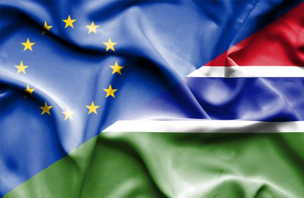 Waving flag of Gambia and EU vector art illustration