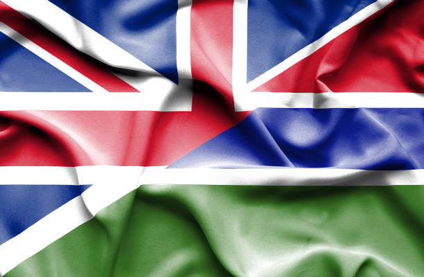 Waving flag of Gambia and Great Britain vector art illustration