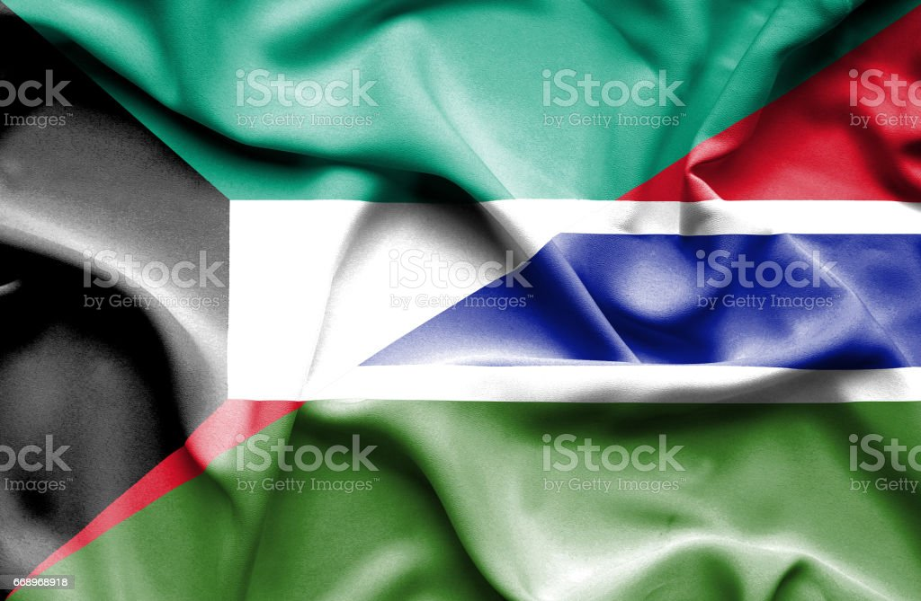 Waving flag of Gambia and Kuwait waving flag of gambia and kuwait - immagini vettoriali stock e altre immagini di accordo d'intesa royalty-free