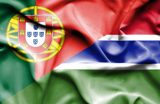Waving flag of Gambia and Portugal vector art illustration