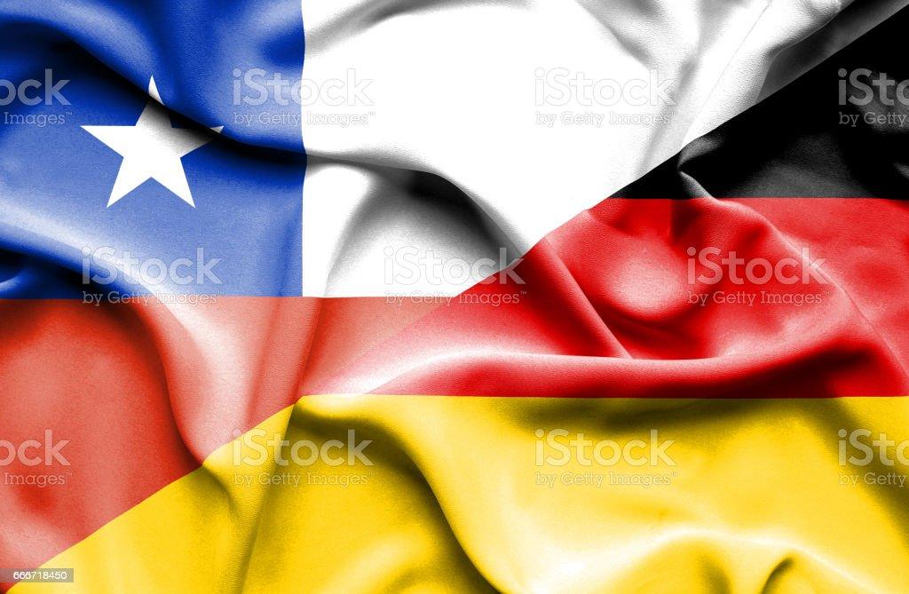 Waving flag of Germany Chile - ilustración de arte vectorial