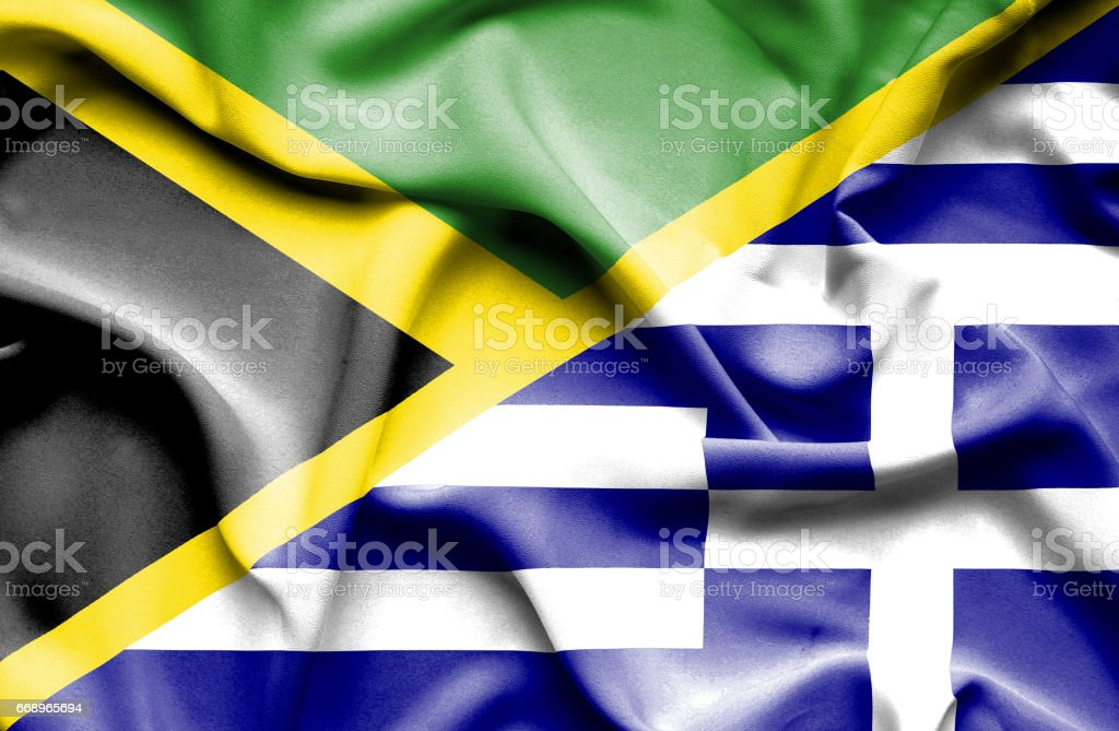 Waving flag of Greece and Jamaica waving flag of greece and jamaica - immagini vettoriali stock e altre immagini di accordo d'intesa royalty-free