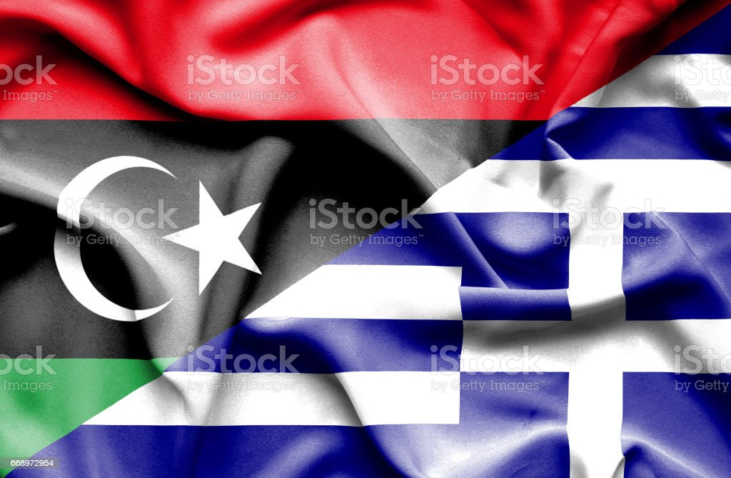Waving flag of Greece and Libya waving flag of greece and libya - immagini vettoriali stock e altre immagini di accordo d'intesa royalty-free