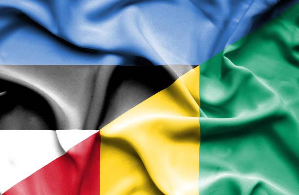Waving flag of Guinea and Estonia vector art illustration