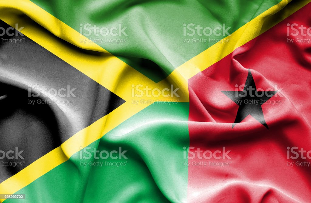 Waving flag of Guinea Bissau and Jamaica waving flag of guinea bissau and jamaica - immagini vettoriali stock e altre immagini di accordo d'intesa royalty-free