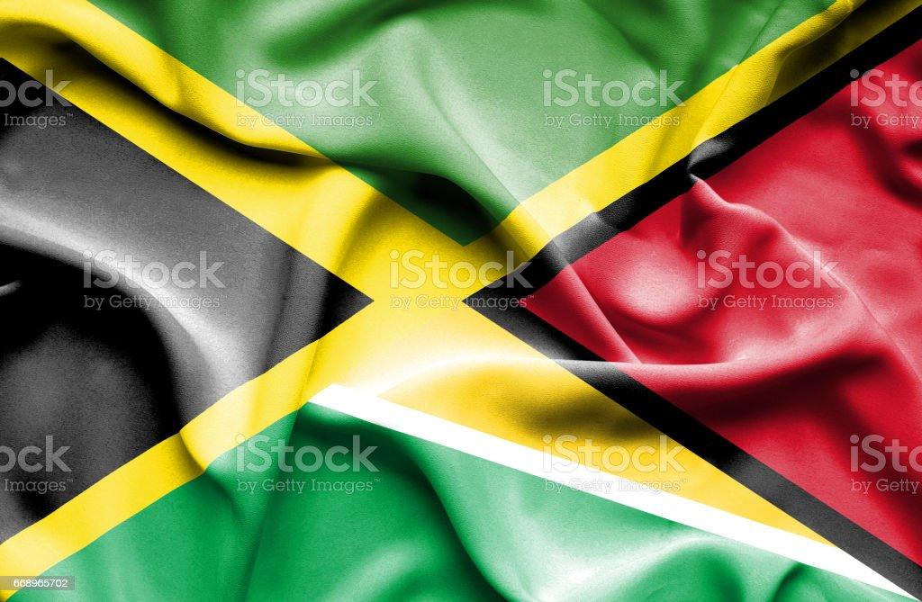 Waving flag of Guyana and waving flag of guyana and - immagini vettoriali stock e altre immagini di accordo d'intesa royalty-free