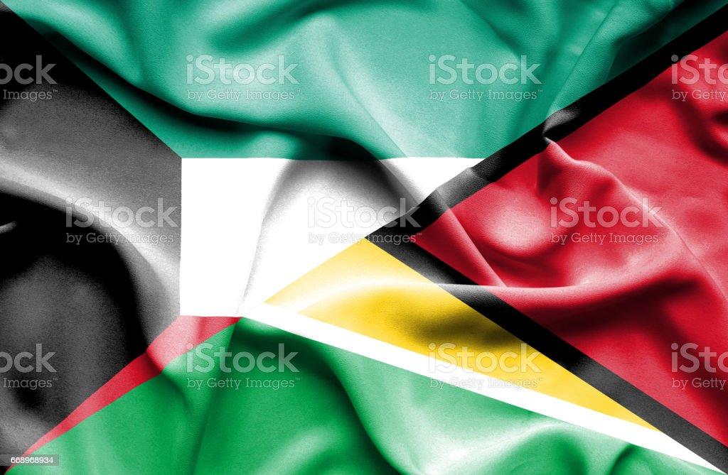 Waving flag of Guyana and Kuwait waving flag of guyana and kuwait - immagini vettoriali stock e altre immagini di accordo d'intesa royalty-free