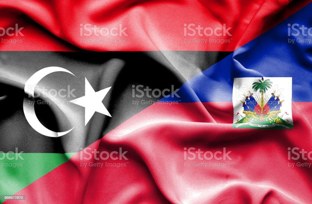 Waving flag of Haiti and Libya waving flag of haiti and libya - immagini vettoriali stock e altre immagini di accordo d'intesa royalty-free
