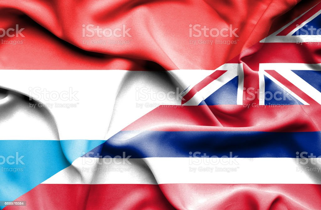 Waving flag of Hawaii and Luxembourg waving flag of hawaii and luxembourg - immagini vettoriali stock e altre immagini di accordo d'intesa royalty-free