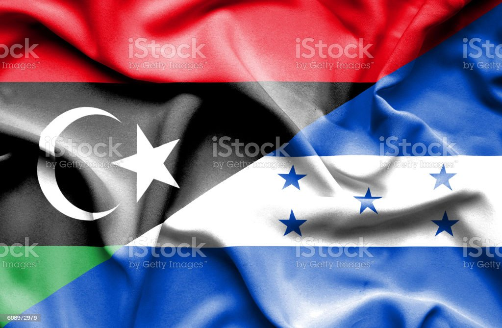 Waving flag of Honduras and Libya waving flag of honduras and libya - immagini vettoriali stock e altre immagini di accordo d'intesa royalty-free