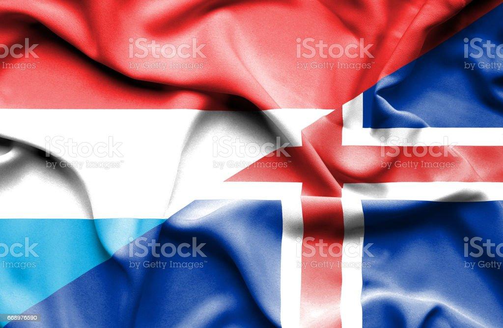 Waving flag of Iceland and Luxembourg waving flag of iceland and luxembourg - immagini vettoriali stock e altre immagini di accordo d'intesa royalty-free