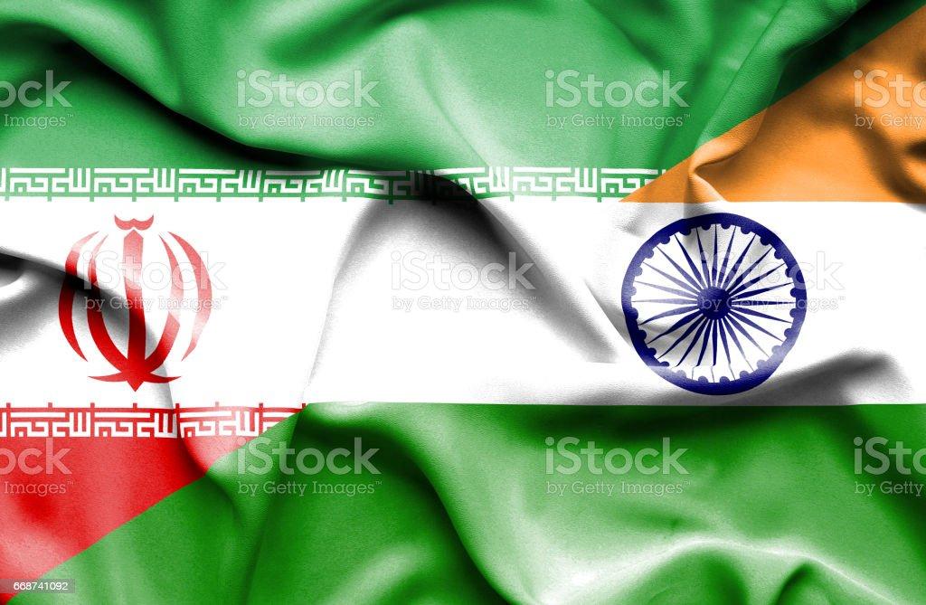 Bandeira da Índia e do irão - ilustração de arte em vetor