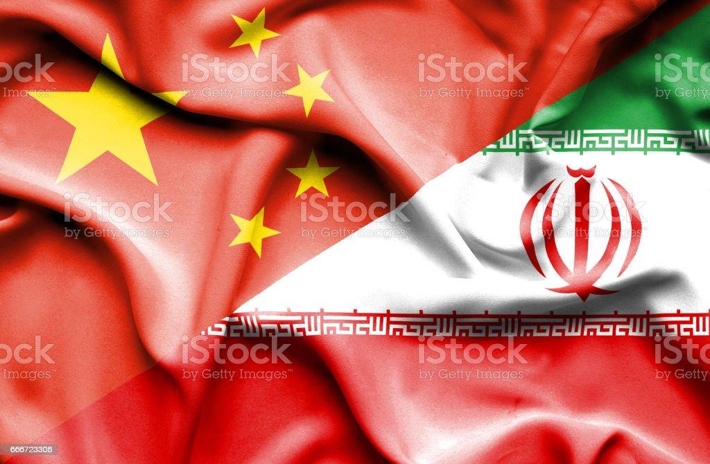 Bandeira do Irã e da China - ilustração de arte em vetor