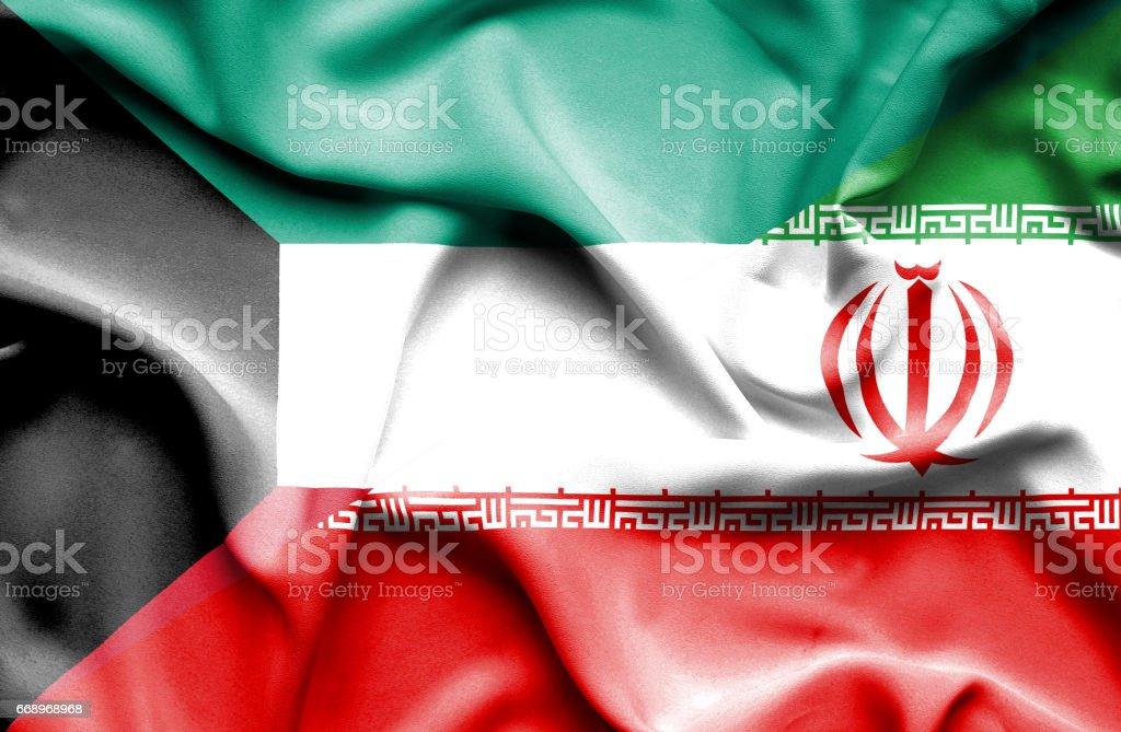 Waving flag of Iran and Kuwait waving flag of iran and kuwait - immagini vettoriali stock e altre immagini di accordo d'intesa royalty-free