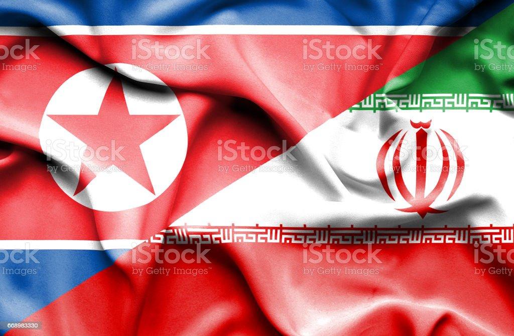 Waving flag of Iran and North Korea vector art illustration