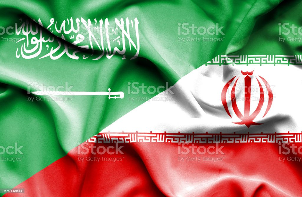 Waving flag of Iran and Saudi Arabia - ilustração de arte em vetor