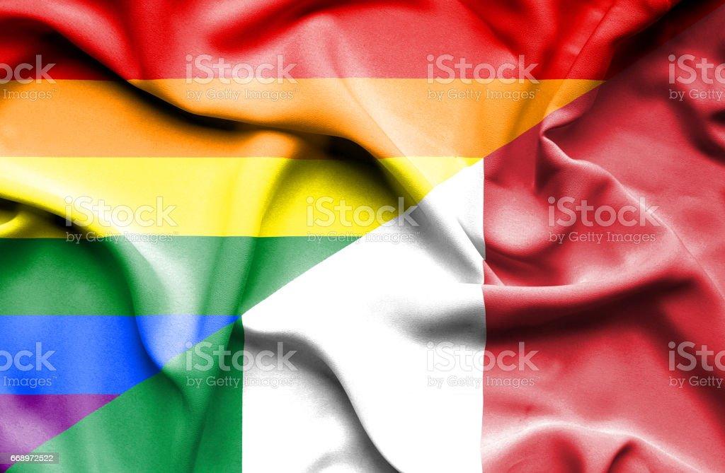 Waving flag of Italy and Pride waving flag of italy and pride - immagini vettoriali stock e altre immagini di accordo d'intesa royalty-free