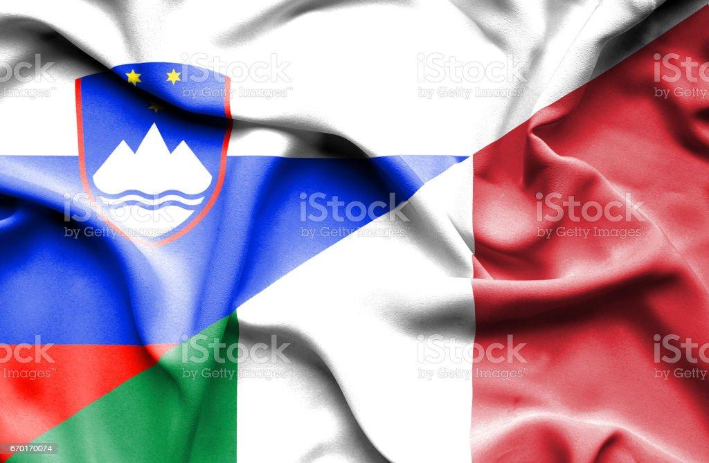 Waving flag of Italy and Slovenia vector art illustration