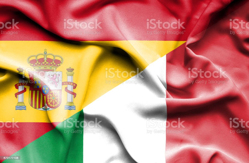 Waving flag of Italy and Spain ベクターアートイラスト