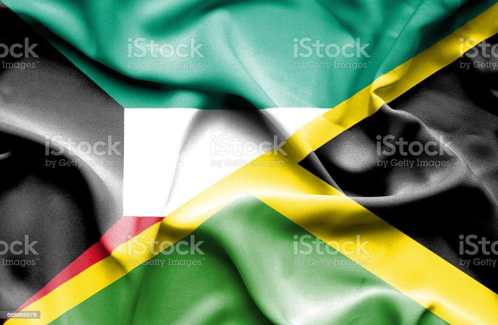 Waving flag of Jamaica and Kuwait waving flag of jamaica and kuwait - immagini vettoriali stock e altre immagini di accordo d'intesa royalty-free