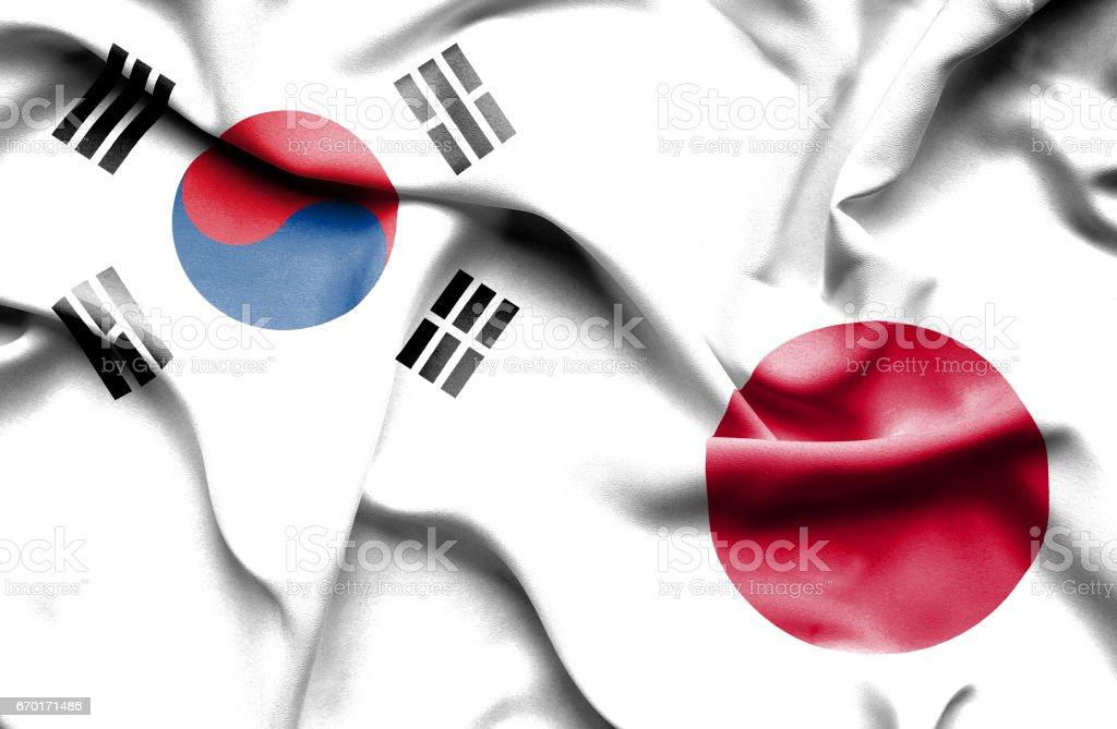 Waving flag of Japan and South Korea ベクターアートイラスト