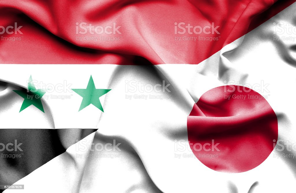 Waving flag of Japan and Syria vector art illustration