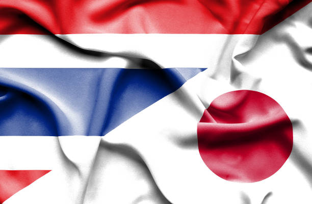 Waving flag of Japan and Thailand ベクターアートイラスト