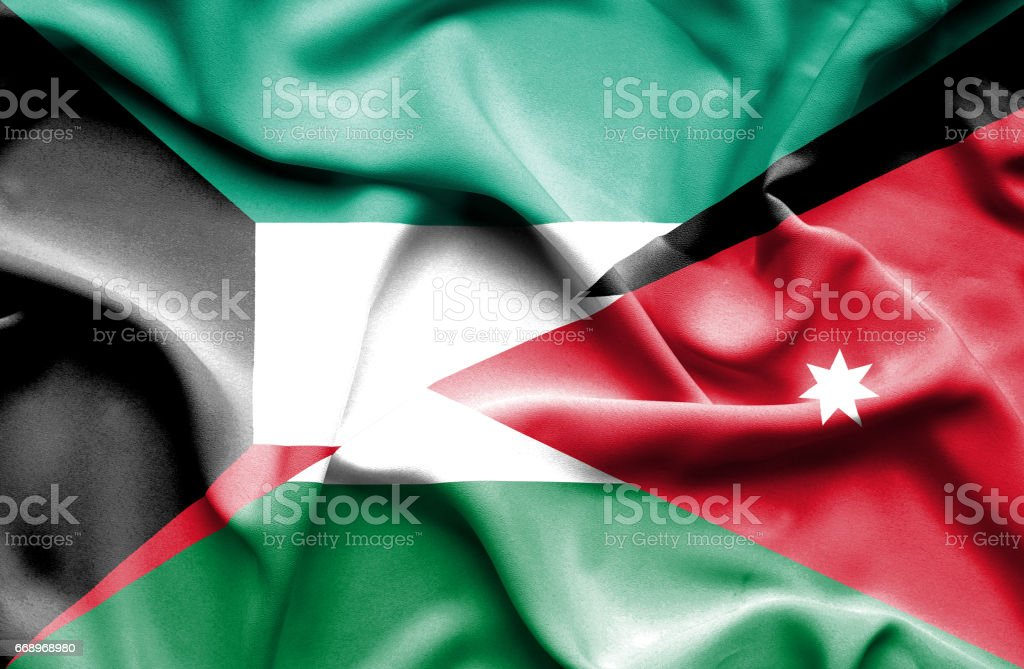 Waving flag of Jordan and Kuwait waving flag of jordan and kuwait - immagini vettoriali stock e altre immagini di accordo d'intesa royalty-free