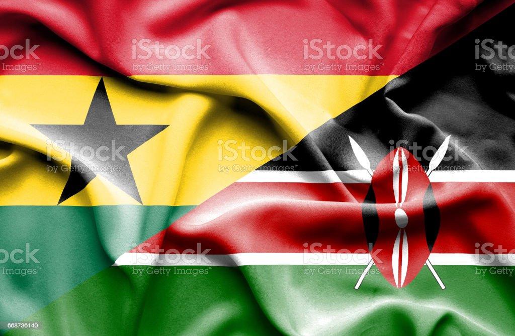 Bandera de Kenia y Ghana - ilustración de arte vectorial