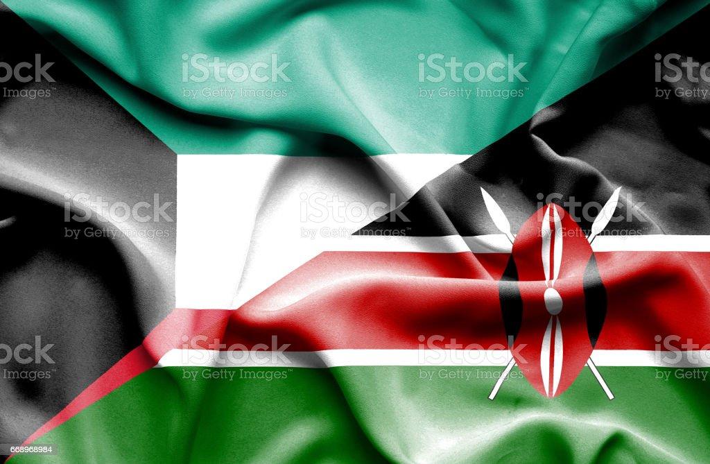 Waving flag of Kenya and Kuwait waving flag of kenya and kuwait - immagini vettoriali stock e altre immagini di accordo d'intesa royalty-free