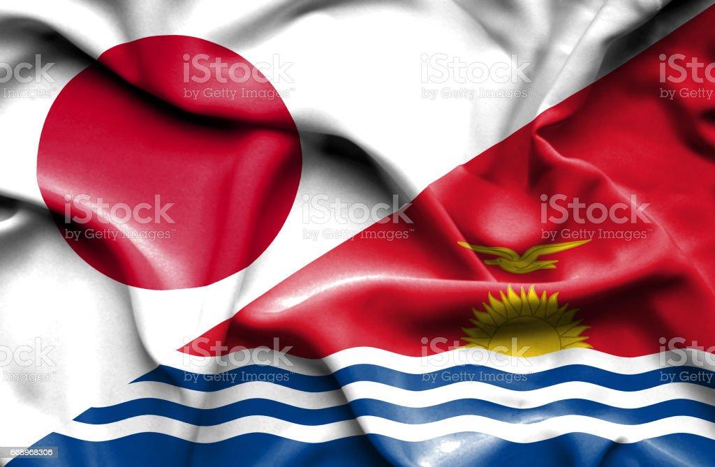 Waving flag of Kiribati and Japan waving flag of kiribati and japan - immagini vettoriali stock e altre immagini di accordo d'intesa royalty-free