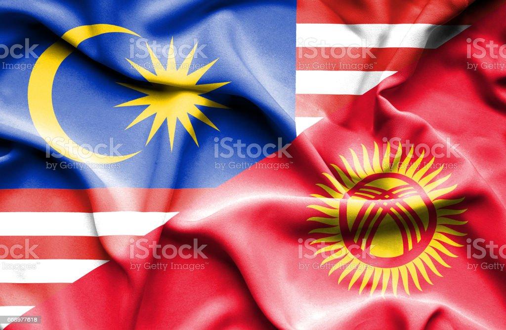 Waving flag of Kyrgyzstan and Malaysia waving flag of kyrgyzstan and malaysia - immagini vettoriali stock e altre immagini di accordo d'intesa royalty-free