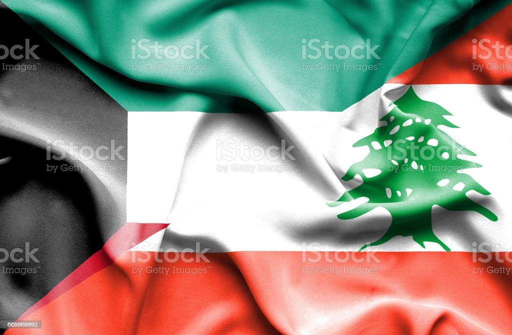 Waving flag of Lebanon and Kuwait waving flag of lebanon and kuwait - immagini vettoriali stock e altre immagini di accordo d'intesa royalty-free