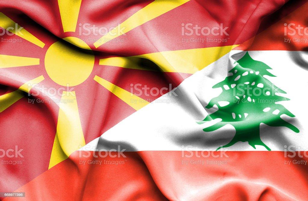 Waving flag of Lebanon and Macedonia waving flag of lebanon and macedonia - immagini vettoriali stock e altre immagini di accordo d'intesa royalty-free