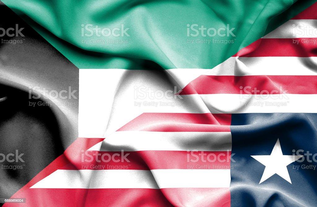 Waving flag of Liberia and Kuwait waving flag of liberia and kuwait - immagini vettoriali stock e altre immagini di accordo d'intesa royalty-free