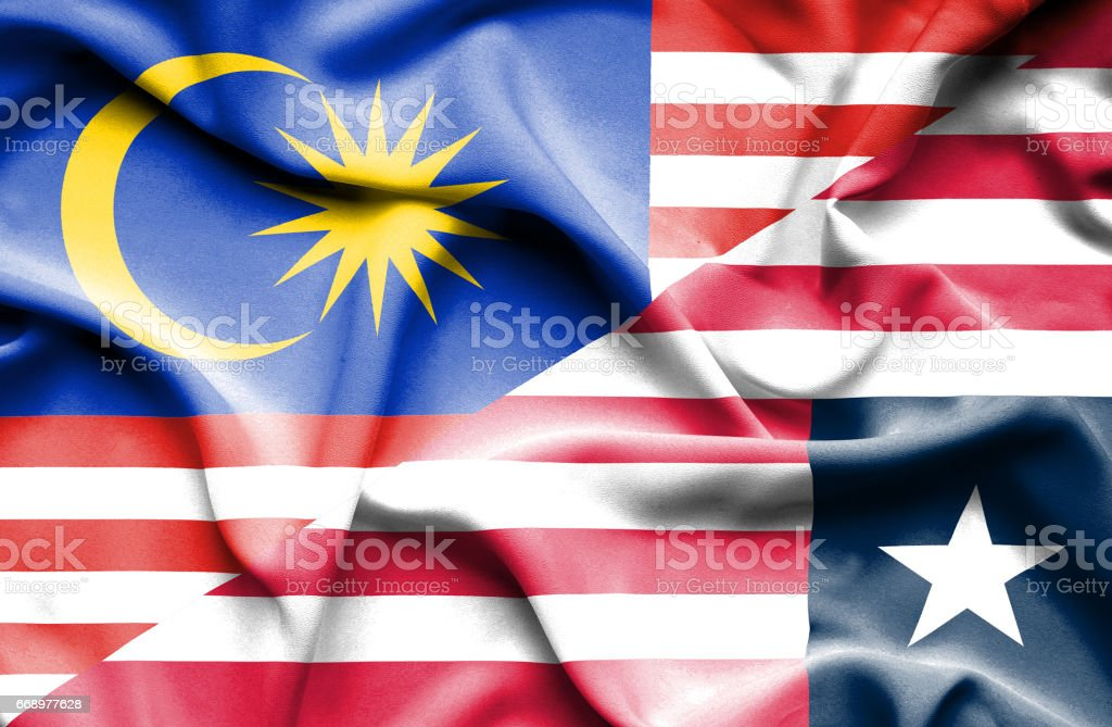 Waving flag of Liberia and Malaysia waving flag of liberia and malaysia - immagini vettoriali stock e altre immagini di accordo d'intesa royalty-free