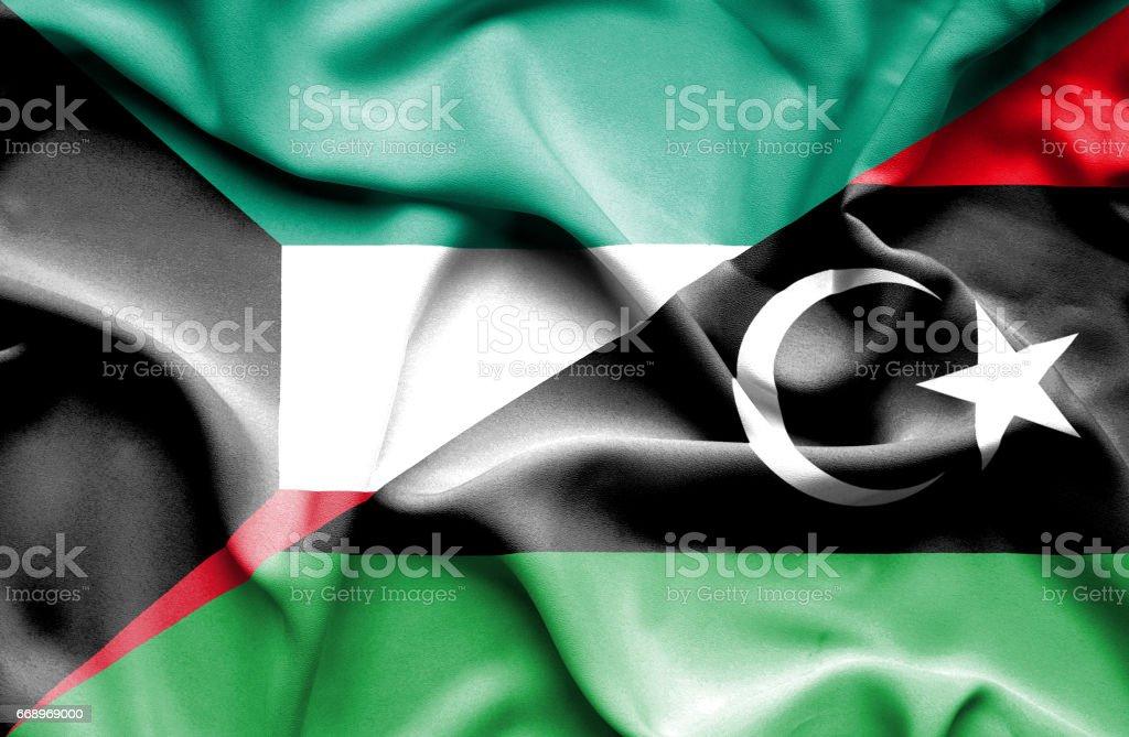 Waving flag of Libya and Kuwait waving flag of libya and kuwait - immagini vettoriali stock e altre immagini di accordo d'intesa royalty-free