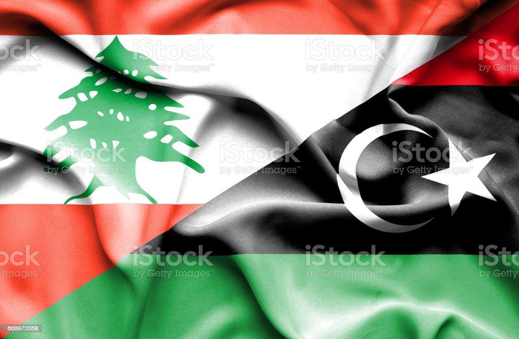 Waving flag of Libya and  Lebanon waving flag of libya and lebanon - immagini vettoriali stock e altre immagini di accordo d'intesa royalty-free