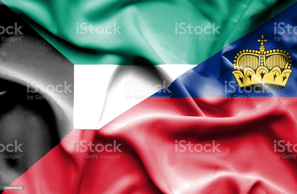 Waving flag of Lichtenstein and Kuwait waving flag of lichtenstein and kuwait - immagini vettoriali stock e altre immagini di accordo d'intesa royalty-free