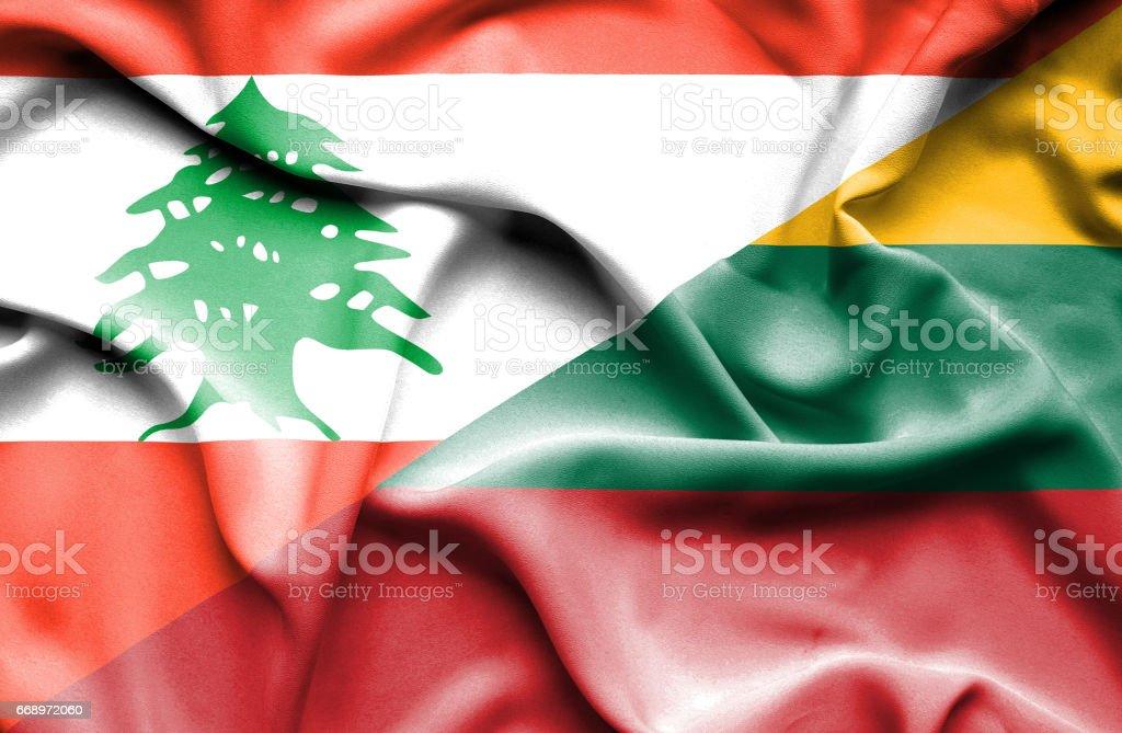 Waving flag of Lithuania and  Lebanon waving flag of lithuania and lebanon - immagini vettoriali stock e altre immagini di accordo d'intesa royalty-free