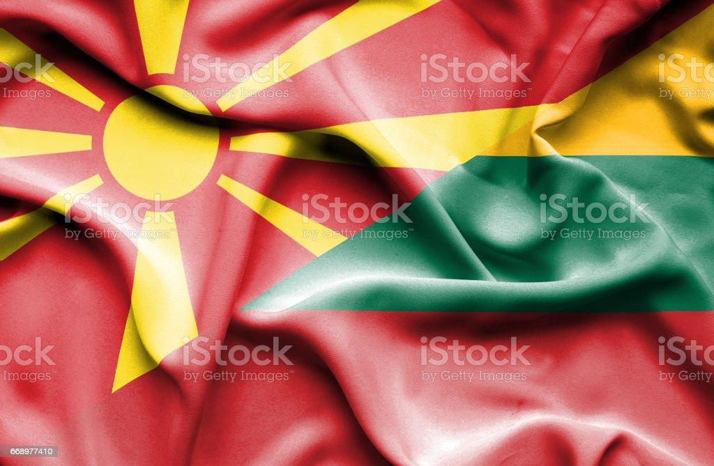 Waving flag of Lithuania and Macedonia waving flag of lithuania and macedonia - immagini vettoriali stock e altre immagini di accordo d'intesa royalty-free