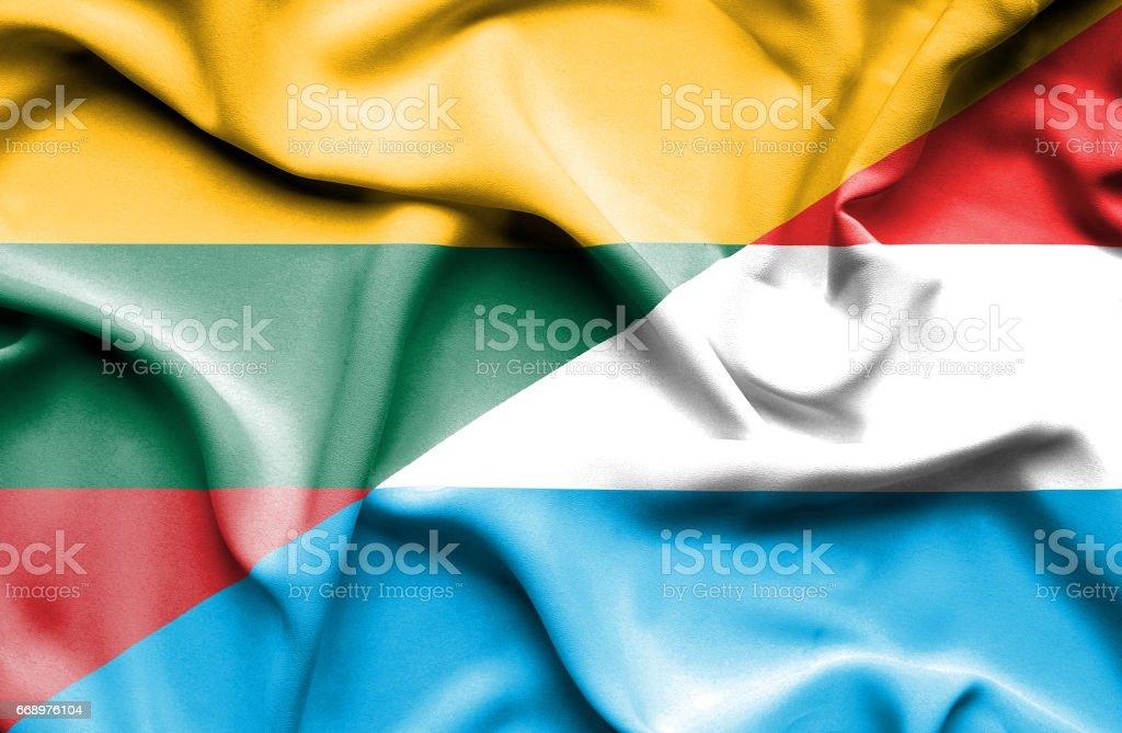 Waving flag of Luxembourg and Lithuania waving flag of luxembourg and lithuania - immagini vettoriali stock e altre immagini di accordo d'intesa royalty-free